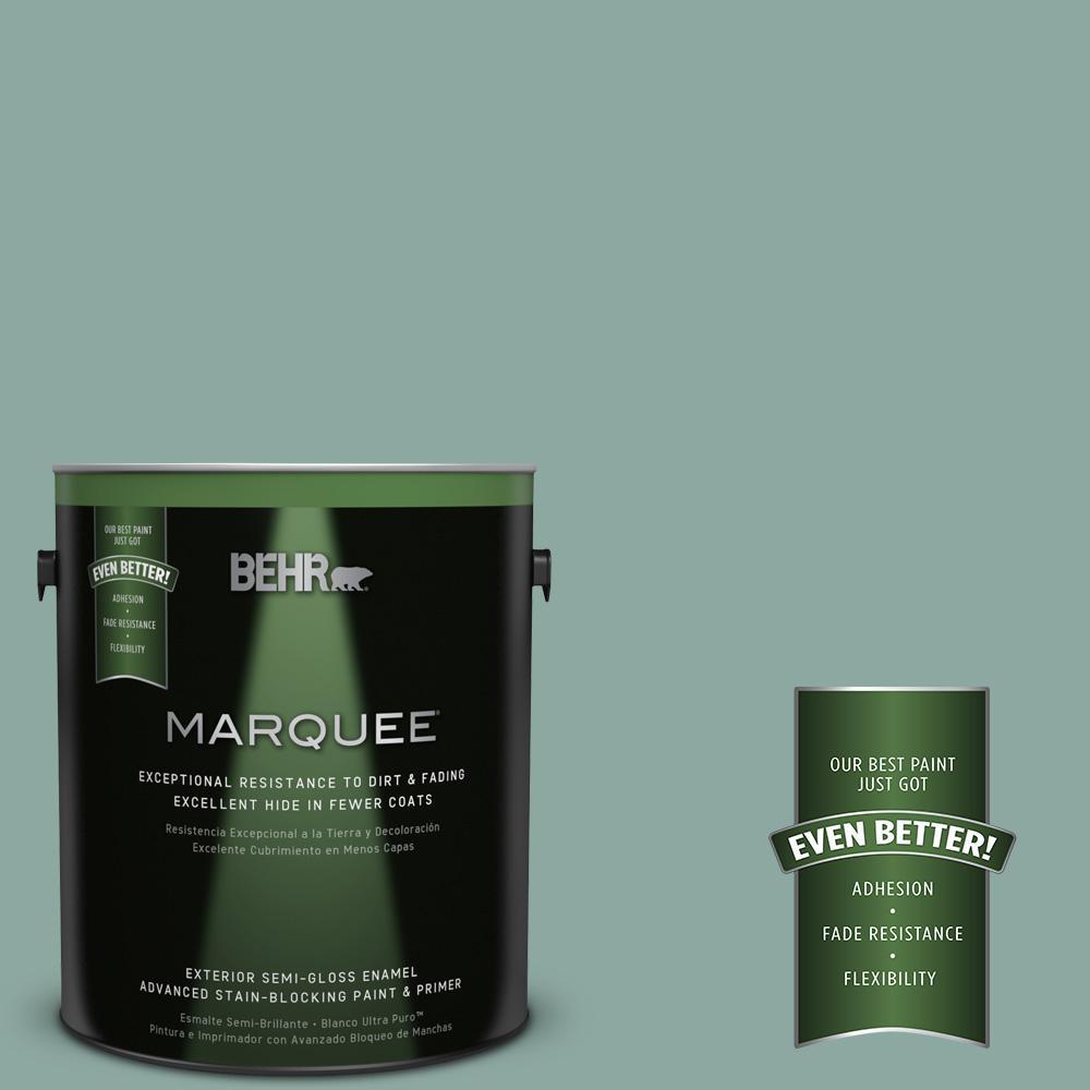 1-gal. #S430-4 Green Meets Blue Semi-Gloss Enamel Exterior Paint