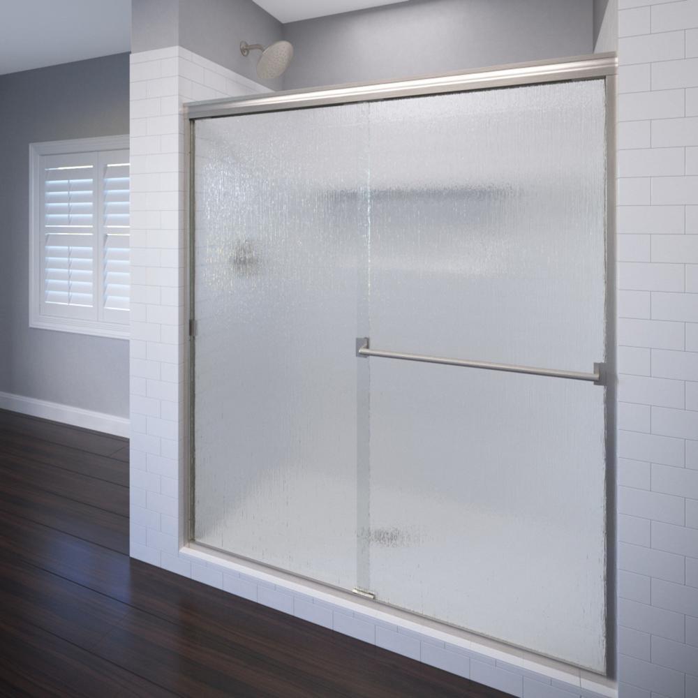 Basco Classic 47 in. x 70 in. Semi-Frameless Sliding Shower Door in Brushed Nickel