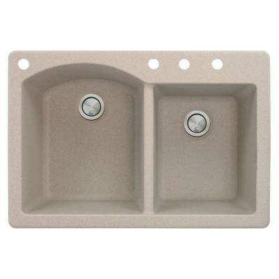 Aversa Drop-in Granite 33 in. 4-Hole 1-3/4 D-Shape Double Bowl Kitchen Sink in Cafe Latte