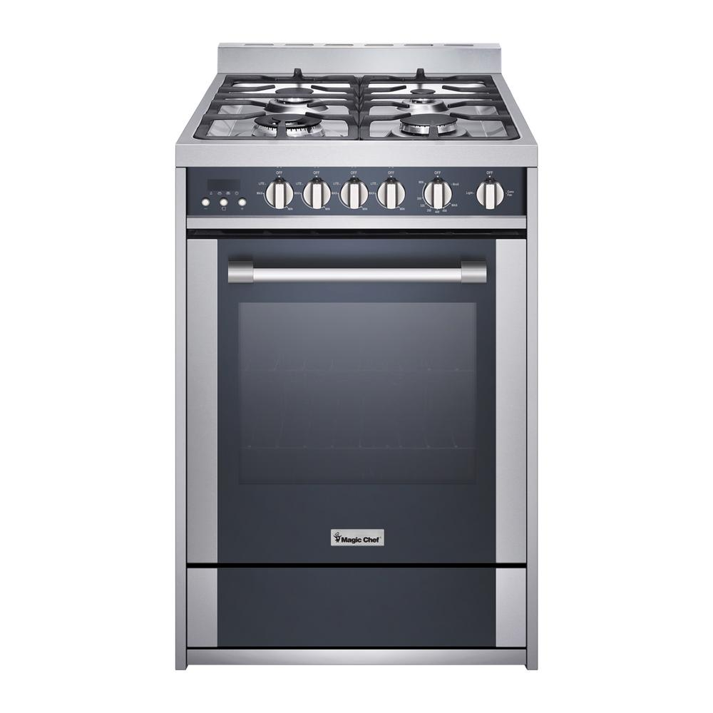 Magic Chef 24 In 2 7 Cu Ft Gas Range With Convection Stainless Steel