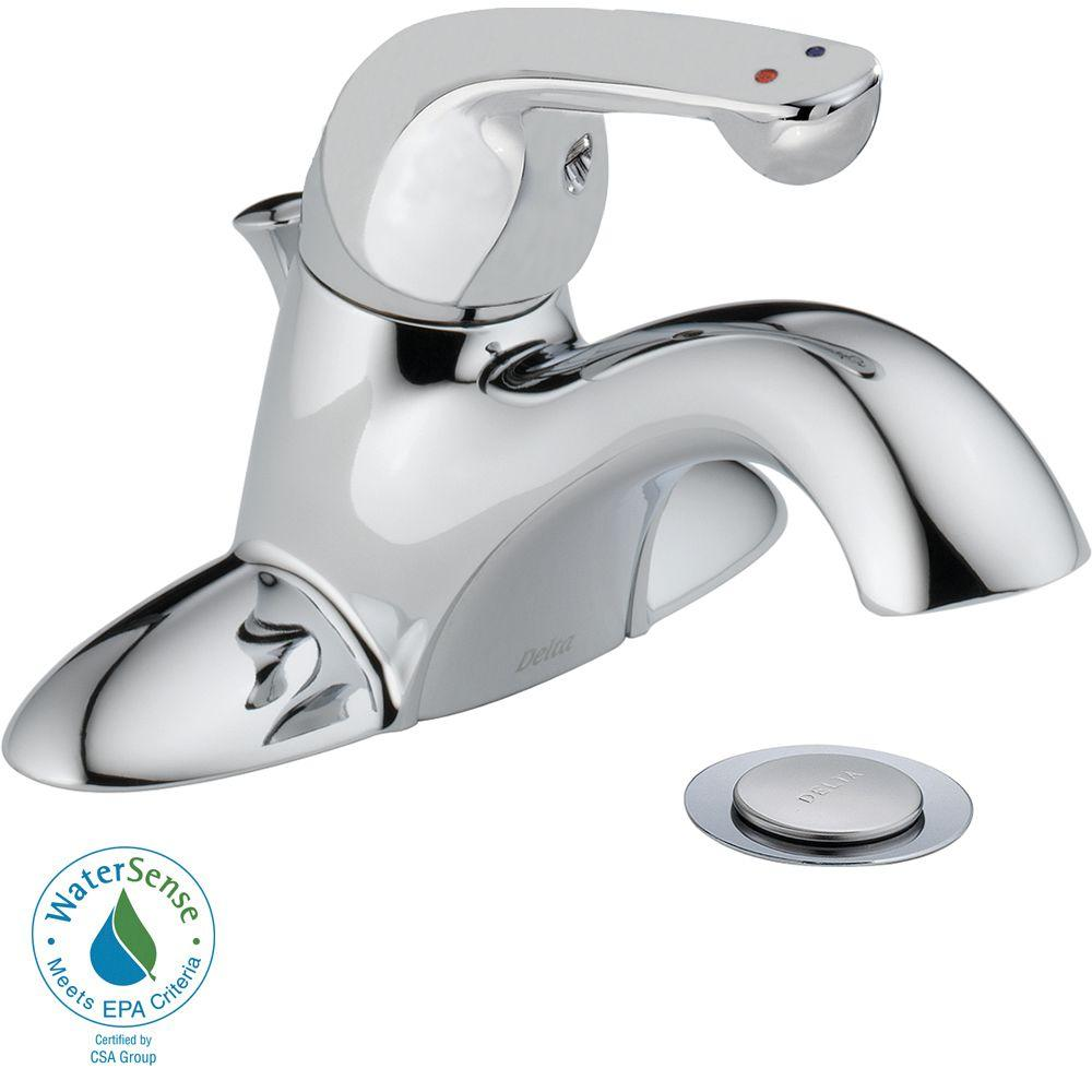 Delta Commercial 4 in. Centerset Single-Handle Bathroom Faucet with Metal Drain Assembly in Chrome