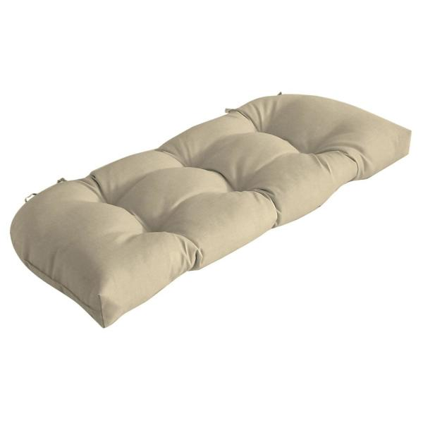 41.5 in. x 18 in. New Tan Leala Texture Countoured Tufted Outdoor Bench Cushion
