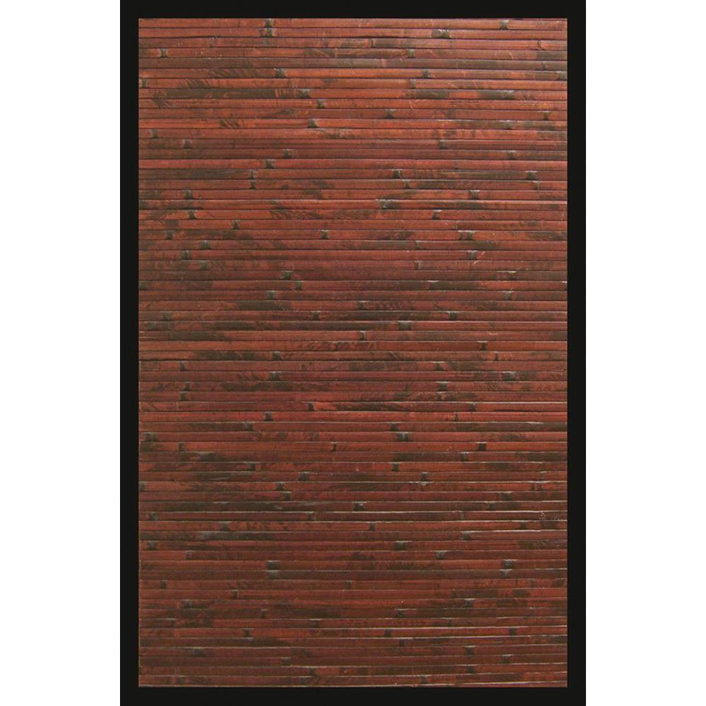 Anji Mountain Cobblestone Mahogany Brown with Black Border 4 ft. x 6 ft. Area Rug
