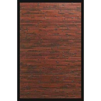 Cobblestone Mahogany Brown with Black Border 5 ft. x 8 ft. Area Rug
