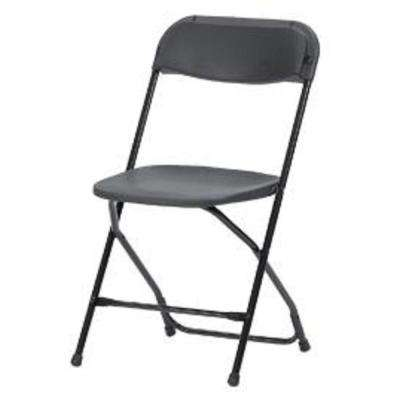 Heavy-Duty Black Contoured Back Plastic Outdoor Safe Folding Chair (Set of 8)