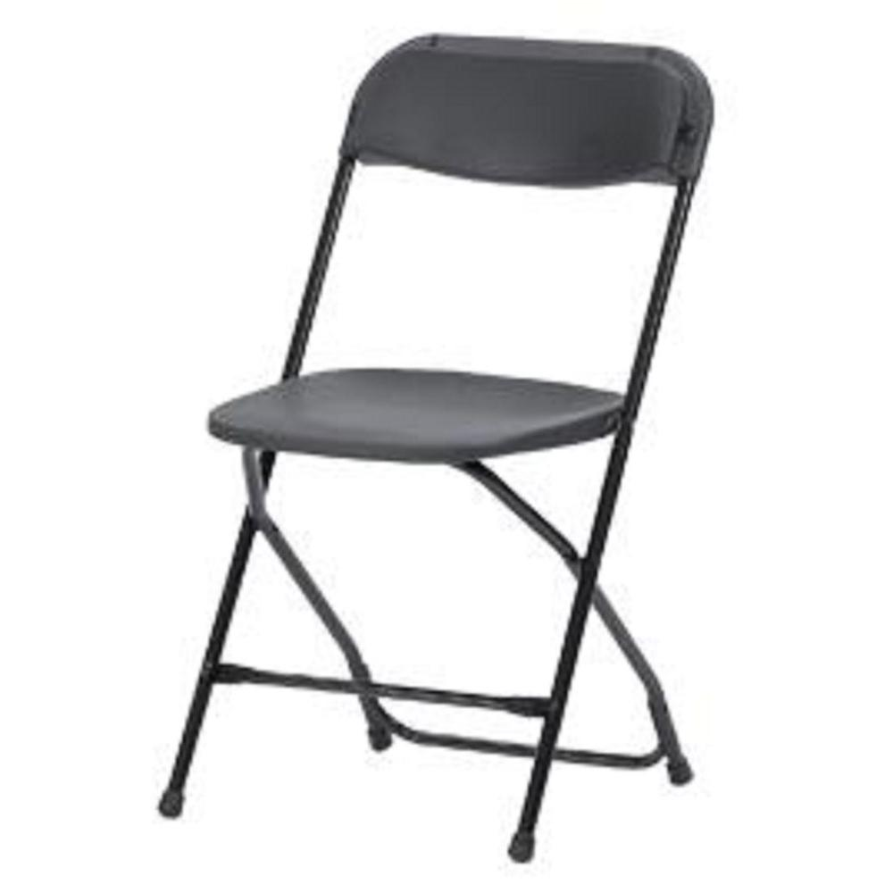 Commercial Heavy Duty Resin Folding Chair With Comfortable Contoured Back  In Black (8 Pack