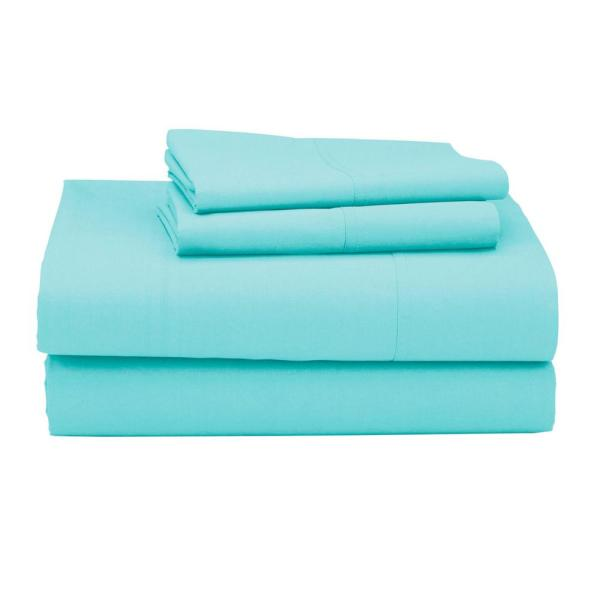 The Company Clic 4 Piece Aqua Blue 210 Thread Count Percale Queen Sheet