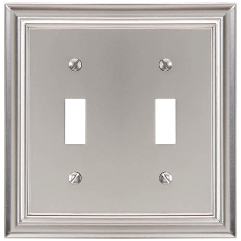 Continental 2 Toggle Wall Plate - Satin Nickel