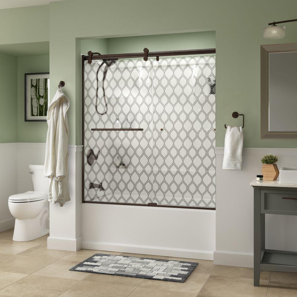 Simplicity 60 in. x 58-3/4 in. Semi-Frameless Contemporary Sliding Bathtub Door in Bronze with Ojo Glass