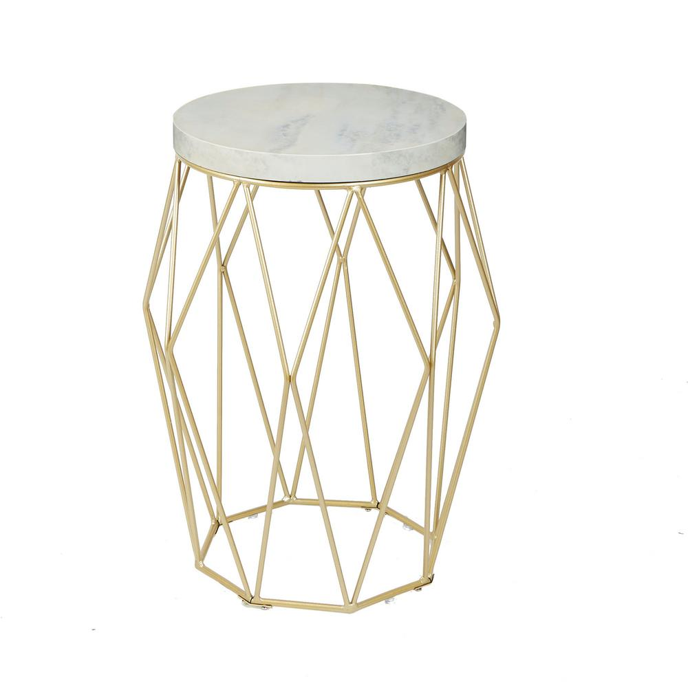 Silverwood Bellewood Gold Faux Marble Top Accent Table Cpft1324