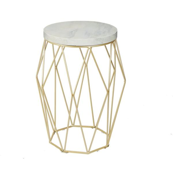 Silverwood Furniture Reimagined Bellewood Gold Faux Marble Top Accent Table