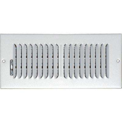 4 in. x 10 in. Ceiling/Sidewall Vent Register, White with 2-Way Deflection