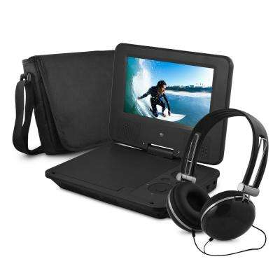 7 in. Portable DVD Player with Colored Headphones and Carrying Case