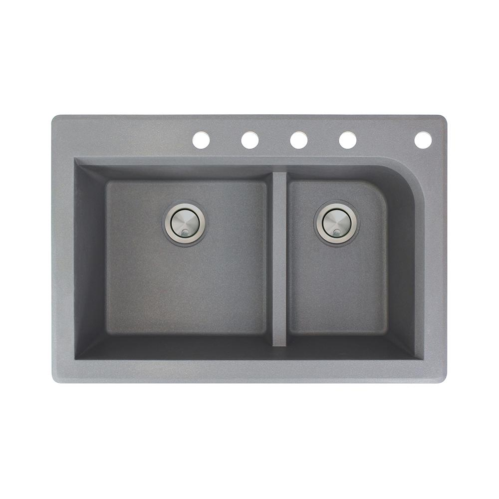 Excellent Transolid Radius Drop In Granite 33 In 5 Hole 1 3 4 J Shape Double Bowl Kitchen Sink In Grey Home Interior And Landscaping Palasignezvosmurscom
