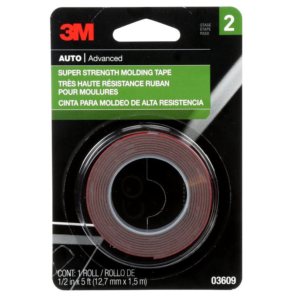 3M 1/2 in. x 1.66 yds. Super Strength Molding Tape (Case of 24)