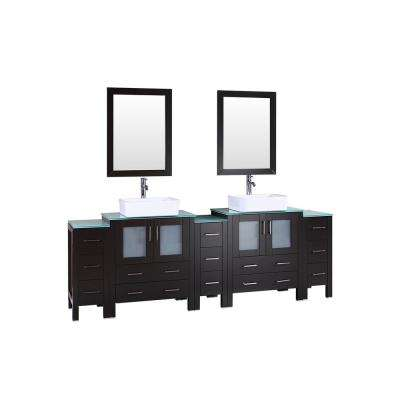 96 in. Double Vanity in Espresso with Tempered Glass Vanity Top in Green with White Basin and Mirror