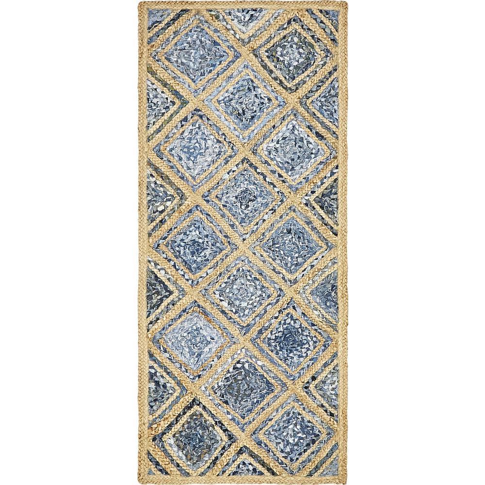 Unique Loom Braided Jute Bengal Blue 2' 6 x 6' 0 Runner Rug