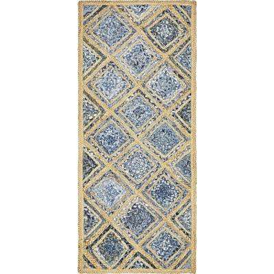 Braided Jute Bengal Blue 2' 6 x 6' 0 Runner Rug