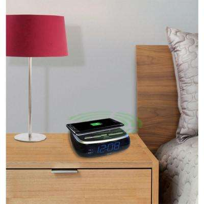 Wireless Charging Blue LED Clock with Alarm