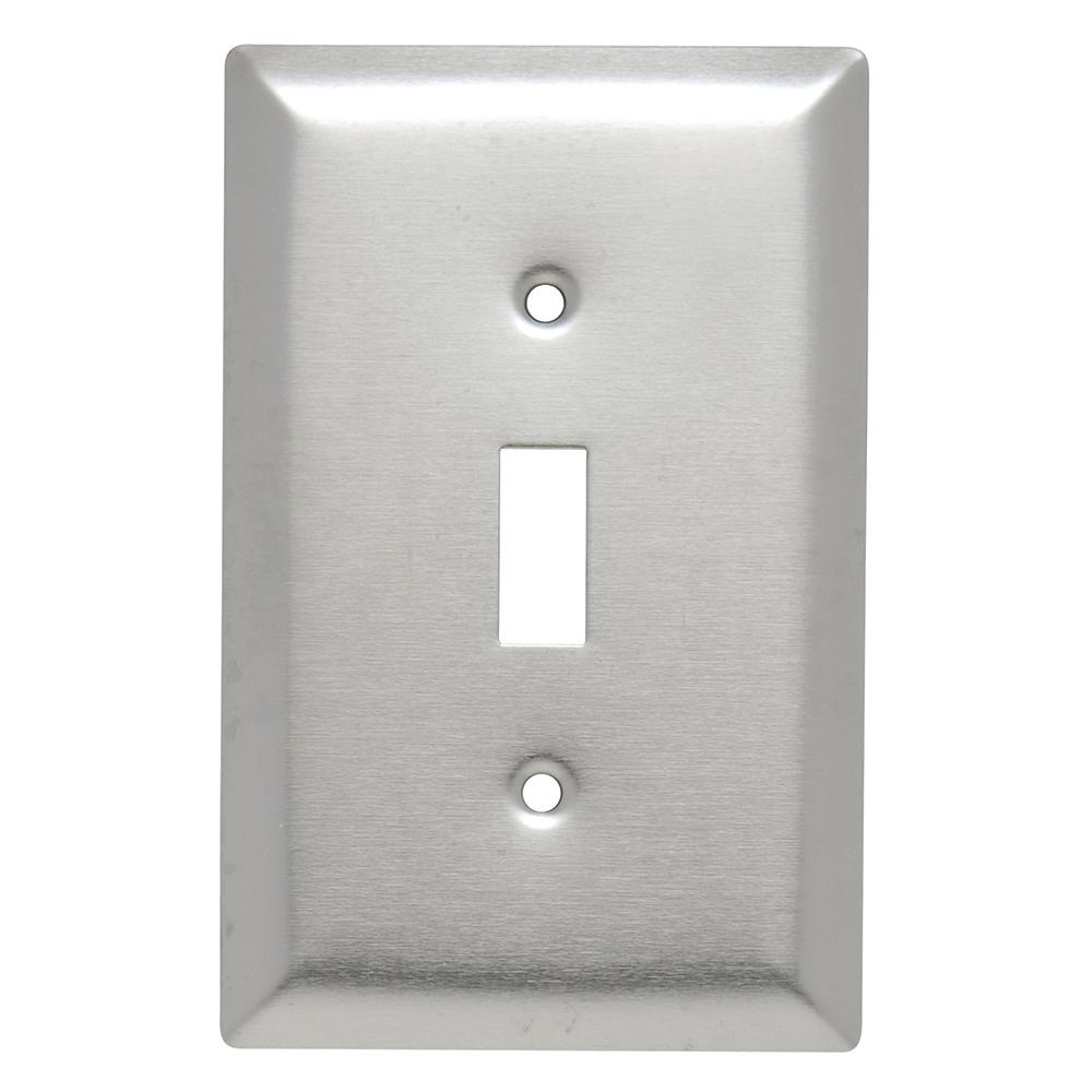 302 Series 1-Gang Junior Jumbo Toggle Wall Plate, Stainless Steel