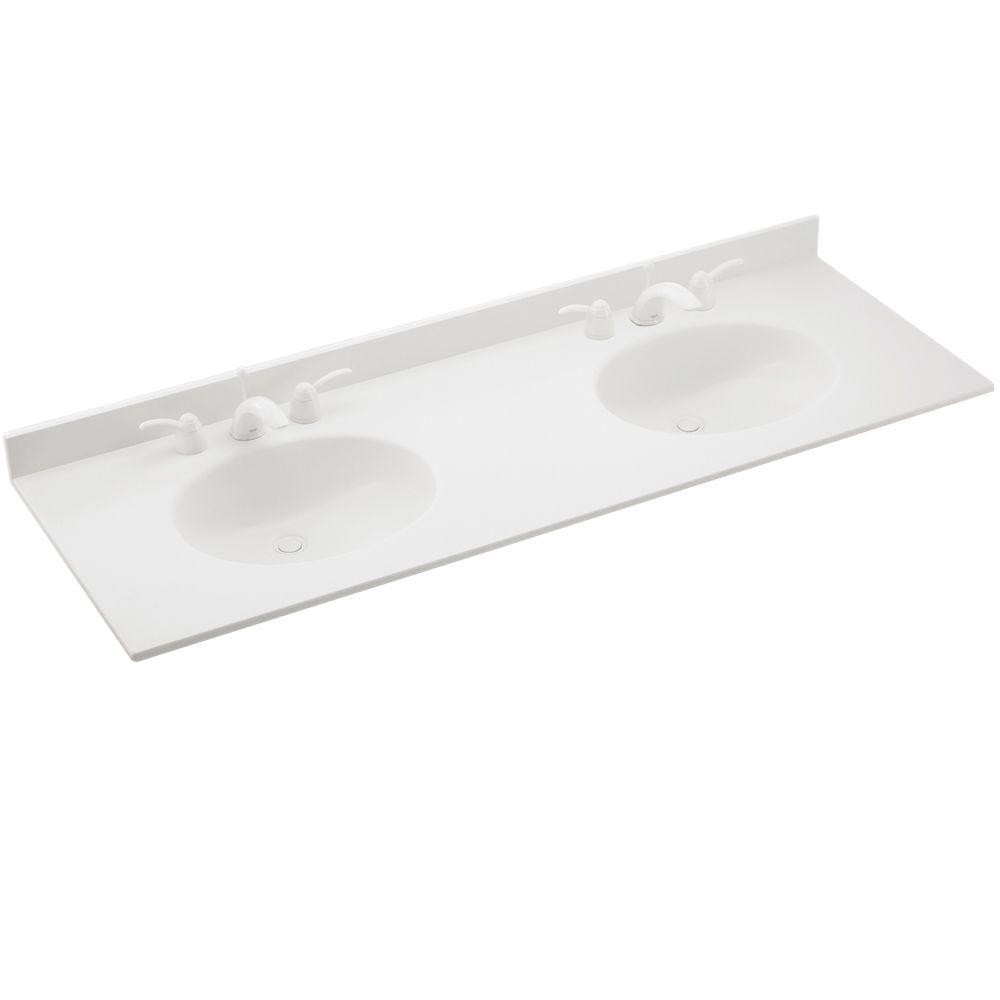 D Solid Surface Double Sink Vanity