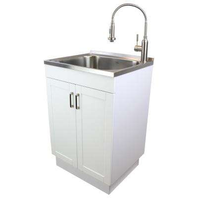 24 in. x 20 in. x 34.6 in. Stainless Steel Laundry/Utility Sink and Particle Board Cabinet with Faucet, Basket in White