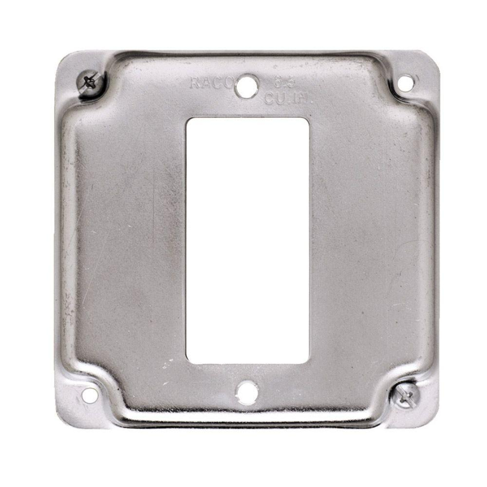 Square Single-Gang Exposed Work Cover for GFCI Device  sc 1 st  Home Depot & RACO 4 in. Square Blank Cover Flat-8752 - The Home Depot