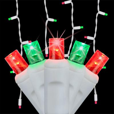 SoftTwinkle 7 ft. 70-Light LED Red and Green Icicle Light Set
