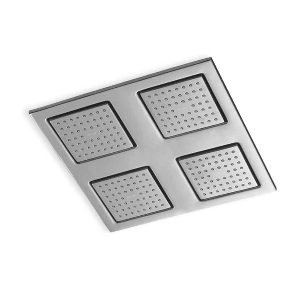 KOHLER WaterTile Rain 9 7/8 in. 1-Spray 54-Nozzle Overhead Showering Panel in Brushed Chrome-DISCONTINUED