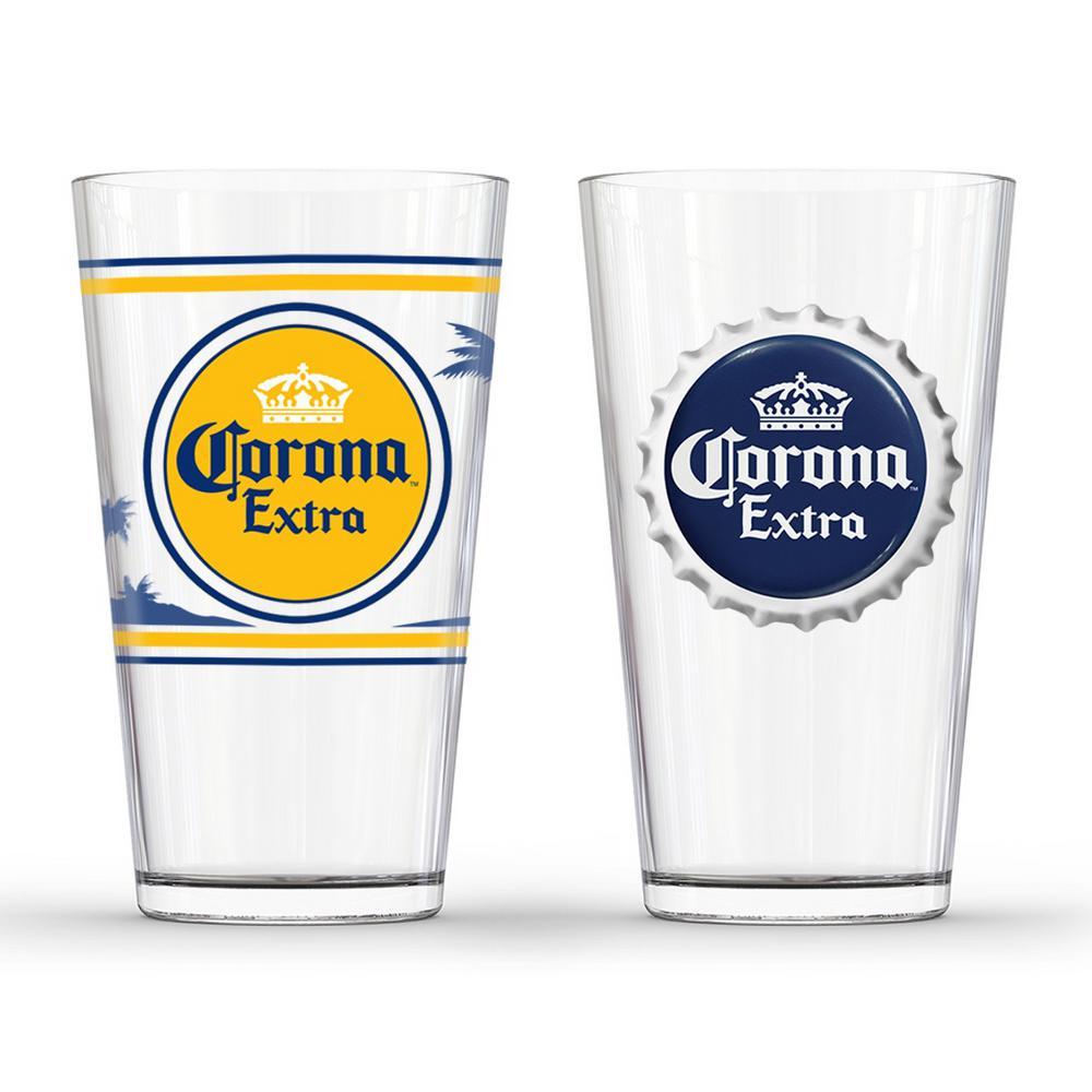 6d680dcf9cc76c Corona Extra Labels Pub Glass (Set of 2)-GD16042PB - The Home Depot