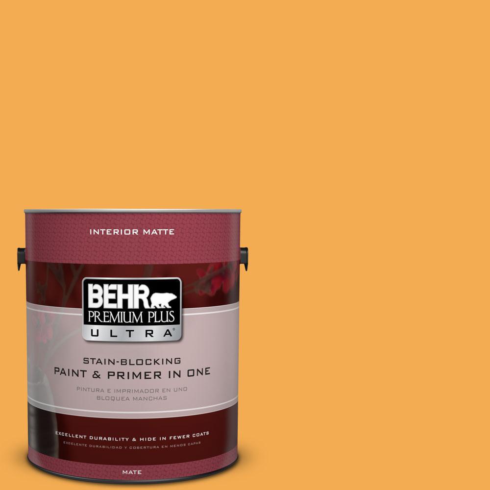BEHR Premium Plus Ultra 1 gal. #290B-6 Squash Flat/Matte Interior Paint