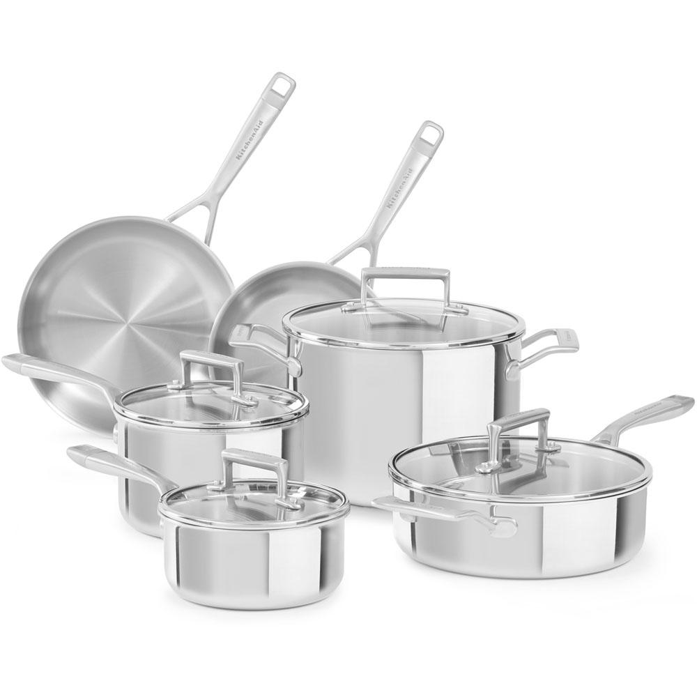 kitchenaid 10 piece stainless steel cookware set with lids