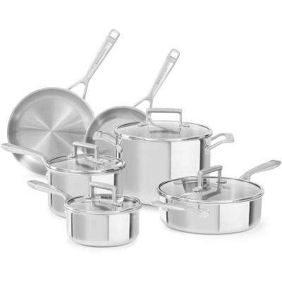 10-Piece Stainless Steel Cookware Set with Lids