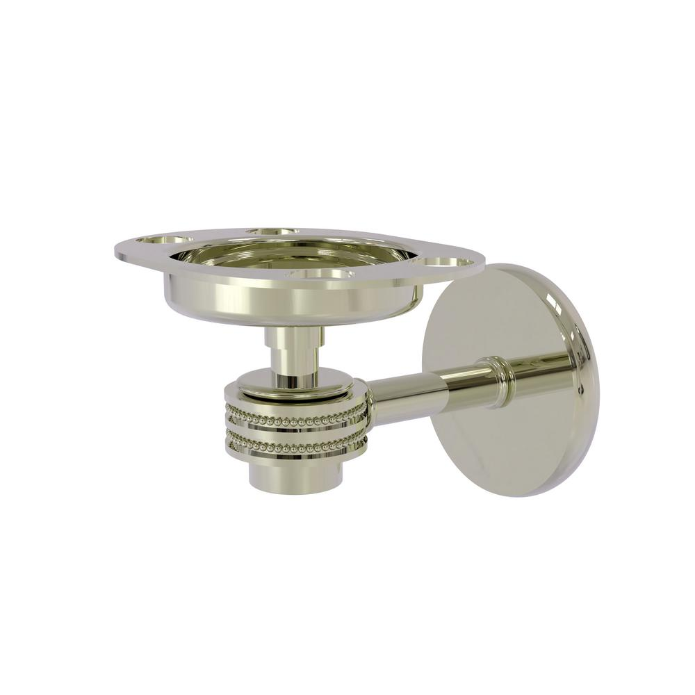 Allied Brass Satellite Orbit 1-Tumbler and Toothbrush Holder with Dotted Accents in Polished Nickel