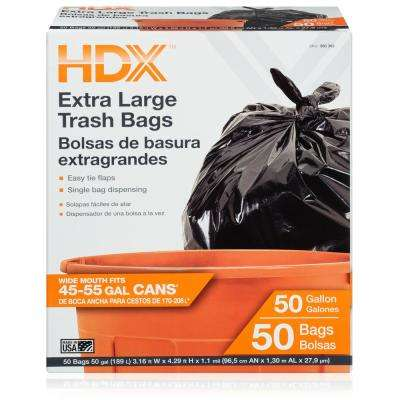 50 Gal. Black Extra Large Trash Bags (50-Count)