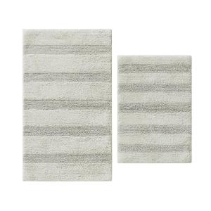 Manchester Solid Grey Cotton 2-Piece Rug Set