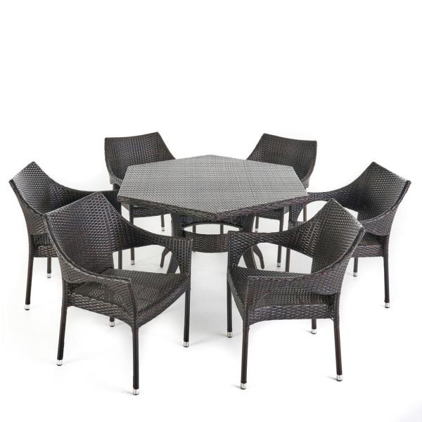 Rylee 30 in. Multi-Brown 7-Piece Metal Hexagonal Outdoor Dining Set