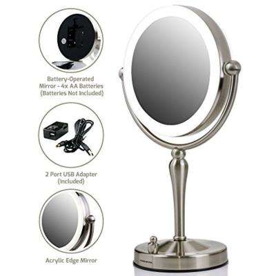 Dual-Sided Magnifying LED Lighted Tabletop Makeup Mirror with Acrylic Edge with 1x or 10x Magnification