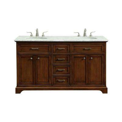 Easton 60 in. Double Bathroom Vanity with 4-Drawers 2-Shelves 4-Doors Marble Top Porcelain Sink in Teak Finish