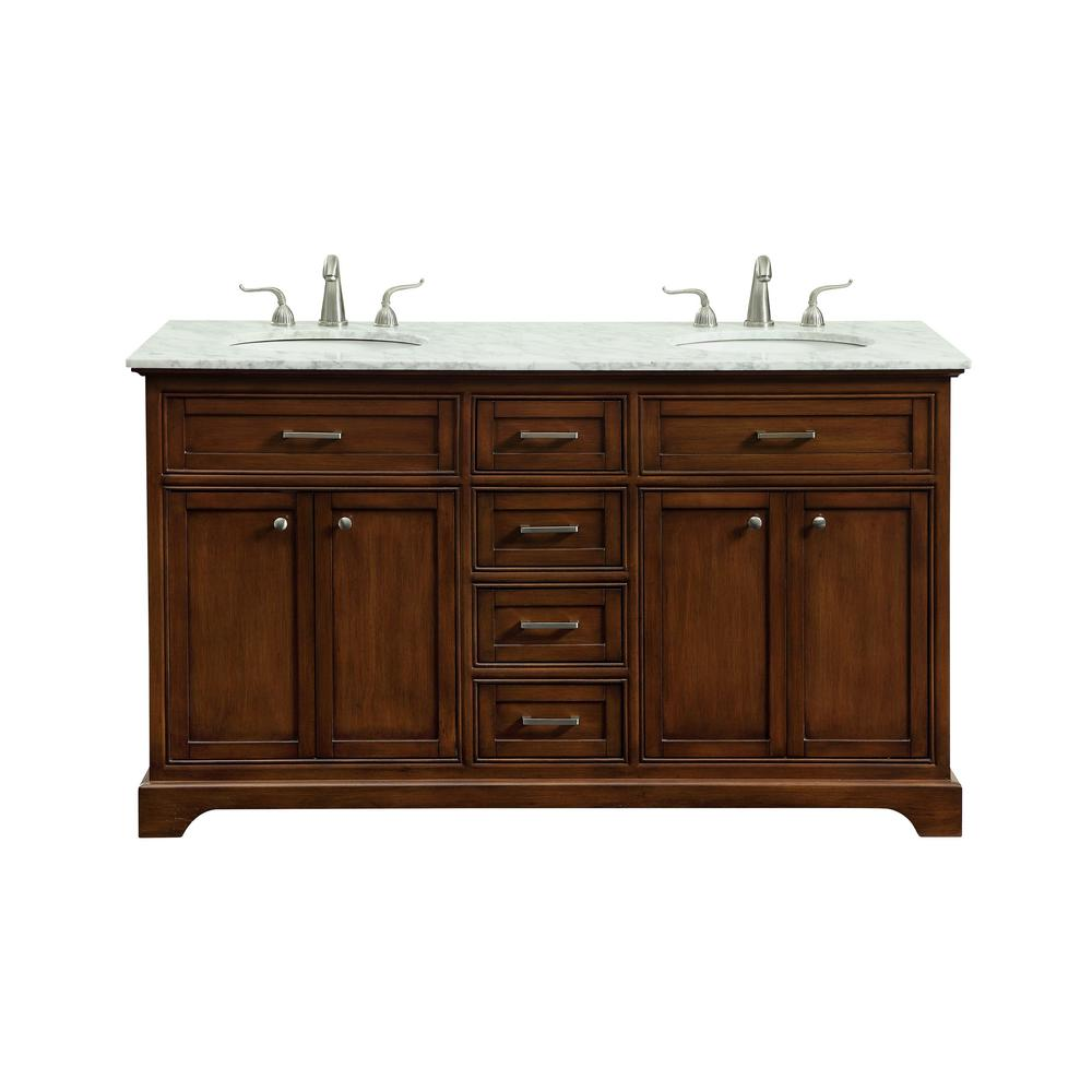 Easton 60 in. Double Bathroom Vanity with 4-Drawers 2-Shelves 4 ...