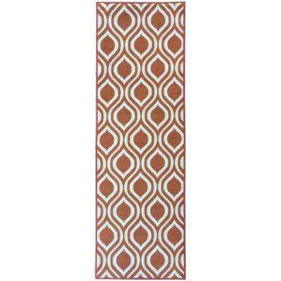 Rose Collection Contemporary Moroccan Trellis Design Orange 2 ft. x 7 ft. Non-Skid Runner Rug