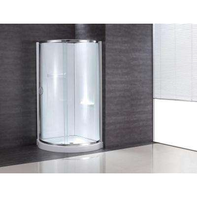 38 in. x 38 in. x 76 in. Shower Kit with Reversible Sliding Door and Shower Base