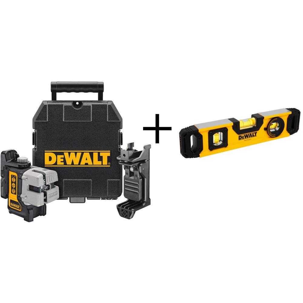 Dewalt Self-Leveling 3-Beam Line Laser with Bonus 9 inch Torpedo Level by DEWALT