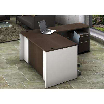 Office Reception Desk Collaboration Center 3-Piece Group Contemporary White/Espresso Color to Update Your Space