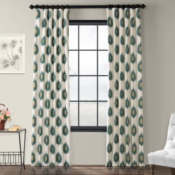 Mayan Teal Blue Room Darkening Printed Cotton Curtain - 50 in. W x 120 in. L