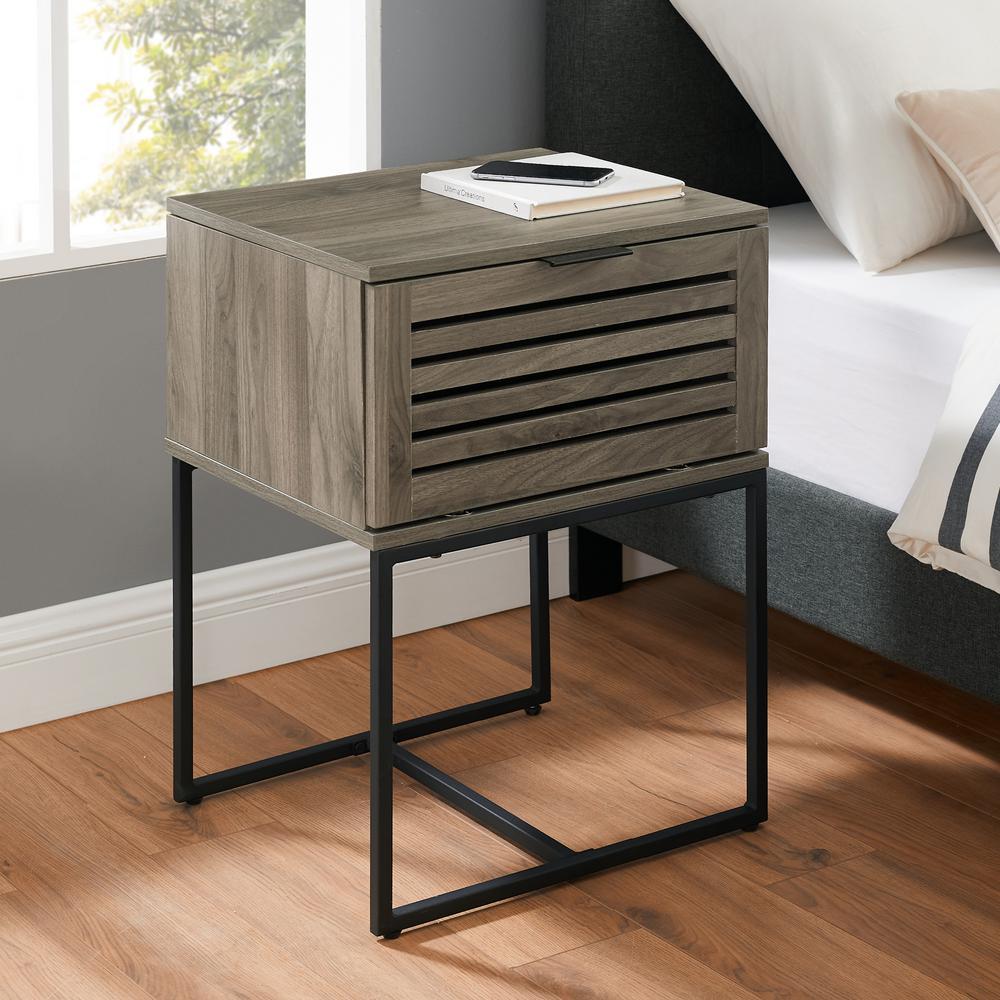 18 in. Slate Grey Modern Slat Door Side Table