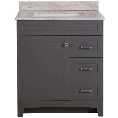 Thornbriar 31 in. W x 39 in. H Bathroom Vanity in Cement with Stone Effects Vanity Top in Winter Mist with White Sink