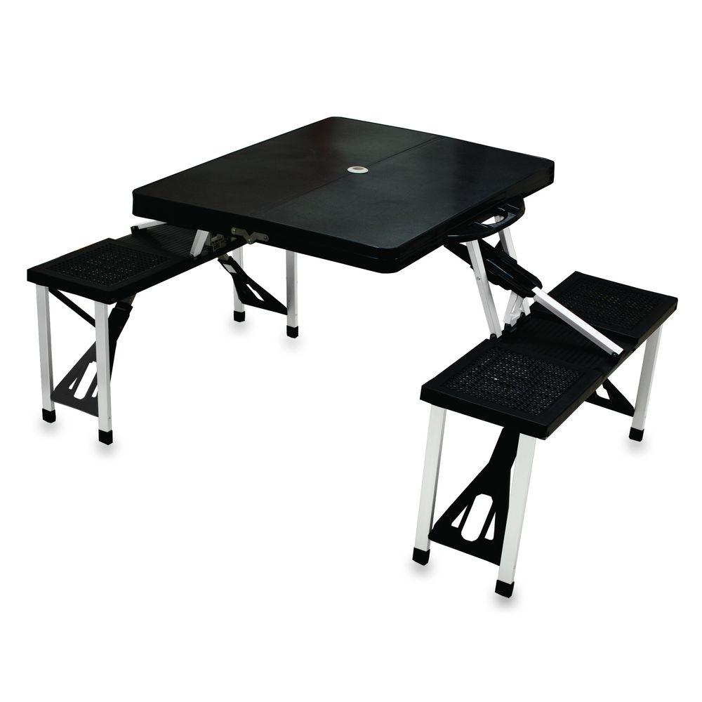 Portable Folding Black Patio Picnic Table with Seats