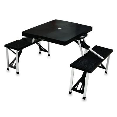 Portable Folding Black Plastic Outdoor Patio Picnic Table with Seats