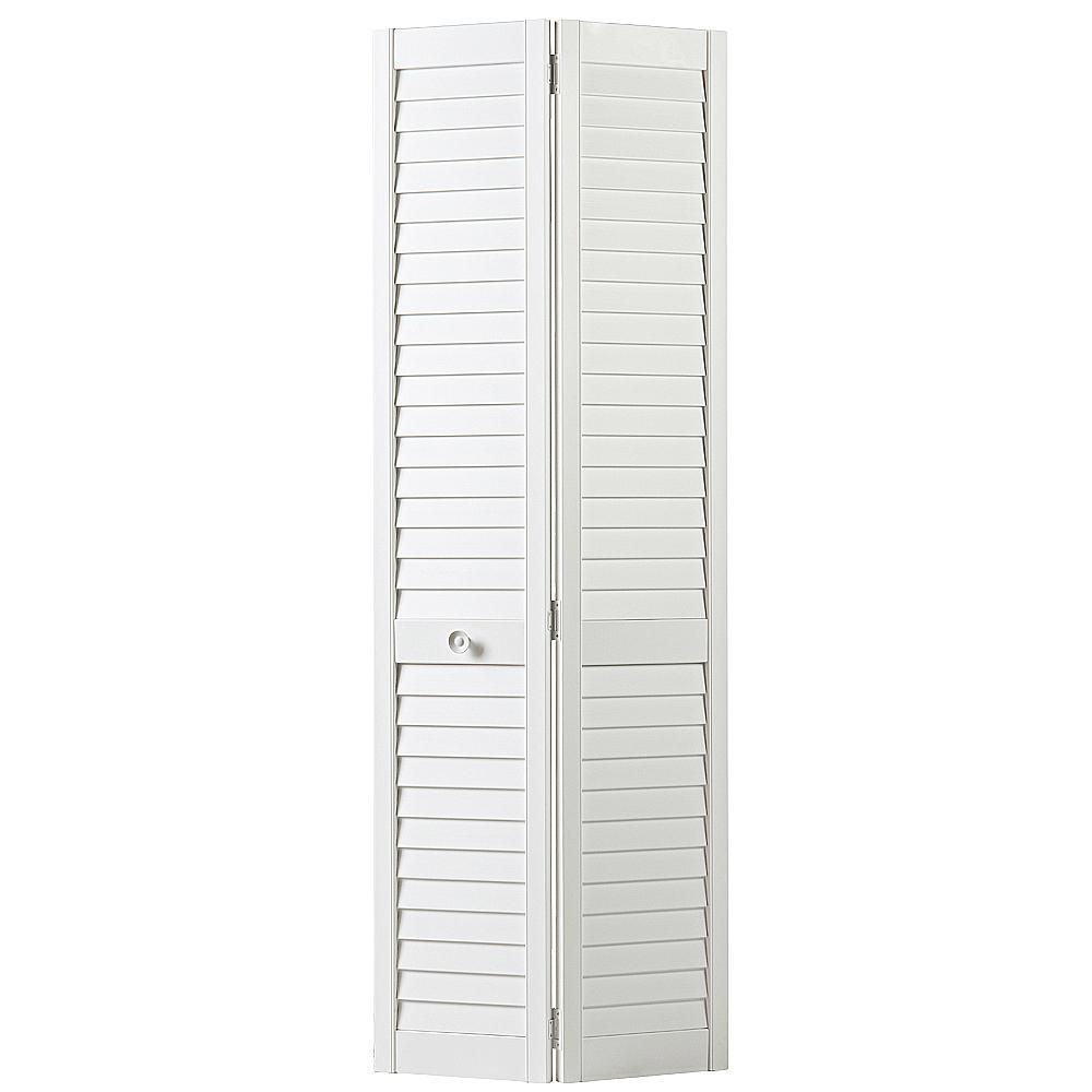 Masonite 30 in. x 80 in. Plantation Full-louvered Painted ...